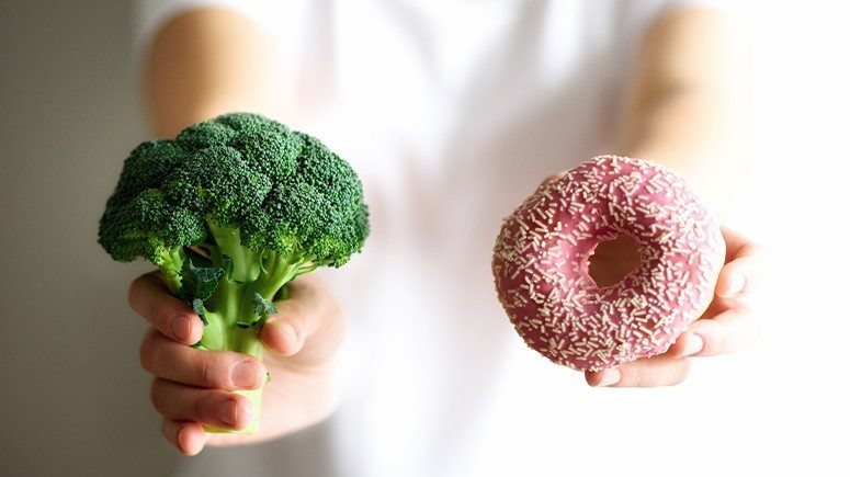 broccoli and donut
